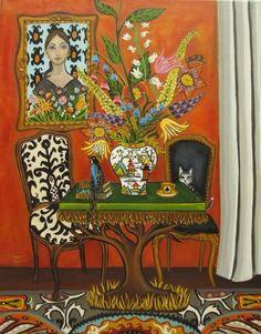 Kareena's Magical Flower Shop-Original painting, painting by artist Catherine Nolin Illustrations, Illustration Art, Art Corner, Diy Canvas, Small Canvas, Naive Art, Pattern Art, Art Images, Collage Art
