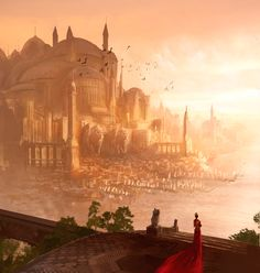 Art Of Animation, Marc Simonetti Inspo for the west. The woman in the red dress is standing on the balcony of her grand home, overlooking the bay which separates her from her lover in the golden city. Fantasy City, Fantasy Castle, Fantasy Places, High Fantasy, Sci Fi Fantasy, Fantasy World, Fantasy Concept Art, Fantasy Artwork, Fantasy Landscape