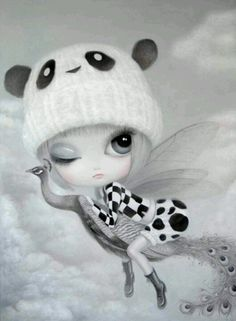 Adorable Fairy! Artwork by Chen Hongzhu Fairy with a panda hat. Cute!