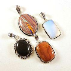 4 PCs Opalite & Black Onyx Gemstone Necklace Pendant Jewelry 925 Silver Plated #Unbranded #Pendant