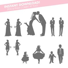Perfect for making your own wedding programs! Wedding Party Silhouettes Instant Download - bride and groom kissing, bridesmaid, groomsmen, flower girls and ring bearer by kaBOOMcommunications