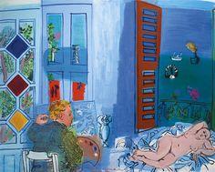 Raoul Dufy 1877 - 1953 L'ARTISTE ET SON MODÈLE oil on canvas