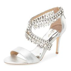 fb27f097bd17 Nancy Jayjii Women Open Toe Mid Heel Satin Sandals with Rhinestones Dress  Wedding Shoes Silver 4 -- Visit the image link more details.