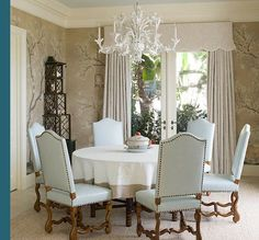 Blue de Gournay and Gracie Wallpapered Dining Rooms - The Glam Pad