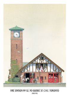Fire Station No. by WaltsTSquare on Etsy Historic Architecture, Tudor Style, Quebec, Ontario, Big Ben, Toronto, Survival, Fire, Cabin