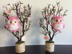 This beautiful unique owl centerpiece gives a perfect touch for your baby shower owl theme, nursery owl decor, birthday party or any other special celebration. Owl is created by using silk flower petals. The owl is perched on a tree branch adorned with carefully placed flowers, leaves