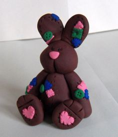 Polymer Clay Dark Brown with Patches Bunny Figure by kittynowchow, $30.00