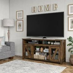 Millwood Pines Scottsville TV Stand for TVs up to with Fireplace Included Color: Rustic, Fireplace Included: No Living Room Tv, Home And Living, Living Room Furniture, Rustic Living Rooms, Tv On Wall Ideas Living Room, Small Living Room Ideas With Tv, Decor Around Tv, Above Tv Decor, Decor For Tv Wall