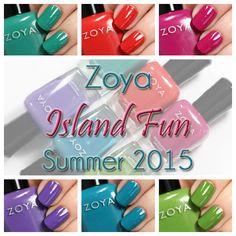 Zoya Summer 2015 - Island Fun collection nail polish swatches via @alllacqueredup