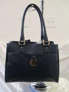 Tommy Hilfiger Handbag Shopper 6922672-423 Color Navy Blue Gold Retail Price $85 #TommyHilfiger #Shopper