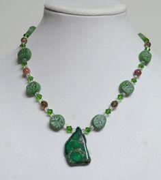 Evergreen Necklace Green Jasper Necklace by FiberandBeadBoutique, $35.00