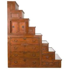 19Th. Century Japanese Staircase Tansu For Sale at 1stDibs Staircase Drawers, Staircase Storage, Attic Staircase, Stair Storage, Stairs, Staircases, Japanese Furniture, Asian Furniture, Unique Furniture