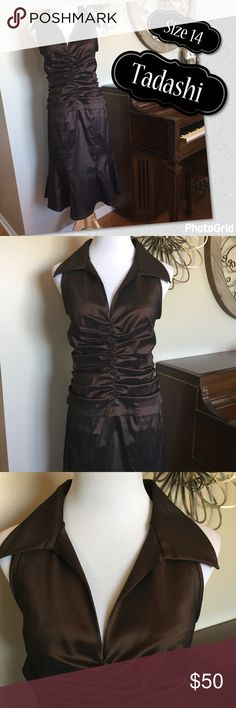 Tadashi Size 14 MOB or Cocktail Dress - dark Brown Stunning dress by Tadashi. It is in Excellent Condition! Size 14 and it is a shimmering brown color. I love the high neck on this! So beautiful. Tadashi Shoji Dresses Wedding