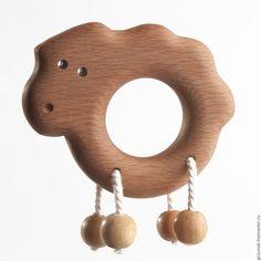 """Купить Погремушка-грызунок """"Ягненок"""" - коричневый, деревянные погремушки, игрушки для младенцев, развивающие игрушки, грызунки"""