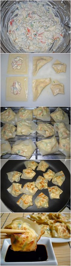 Lobster & Cream Cheese Wontons Recipe (maybe use crab instead) looks so delicious!