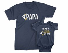 Papa and Papa's Little Helper. Christmas Gift for Grandpa and Grandson. Matching T-shirt Set. Funny Papa and Baby one piece with Power Tool. Father's Day T Shirts, Dad To Be Shirts, Family Shirts, Grandpa Gifts, Fathers Day Gifts, Grandparent Gifts, New Daddy, Funny Outfits, Kids Shorts