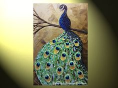 ORIGINAL Art Abstract Painting Peacock Painting Modern Textured Impasto Wall Decor Palette Knife Saphire Blue Brown Green 36x24 - Christine