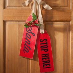 """Welcome to Our Home"" or ""Santa Stops Here"" Wood Tags are a new trendy update to your front door. Find supplies for your DIY tags at Craft Warehouse."