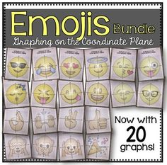 EMOJI Bundle (Graphing on the Coordinate Plane/ Mystery Pictures) Peace Sign Party, Ok Hand Sign, Thumbs Up Sign, Party Poppers, Closed Eyes, 4th Grade Math, Positive And Negative, Heart Eyes, Smile Face