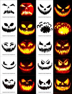 Pin for Later: scary halloween decorations. Free Halloween Pumpkin Templates, Vectors, PSD, Icons & Party Posters for Scary Pumpkin Carving, Halloween Pumpkin Carving Stencils, Scary Halloween Pumpkins, Halloween Make, Holidays Halloween, Carving Pumpkins, Halloween Decorations, Scary Pumpkin Faces, Halloween Pumpkin Designs