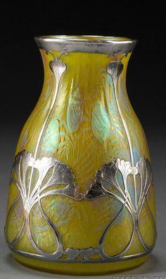Art Nouveau Vase Silver Overlay Vase Iridescent art glass and silver Austria, probably Loetz, c. 1905