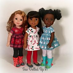 Items similar to Christmas Fun Babydoll Style sets for 14 Inch dolls on Etsy American Girl Clothes, Girl Doll Clothes, Doll Clothes Patterns, Girl Dolls, Baby Dolls, Doll Patterns, American Girl Hairstyles, American Girl Wellie Wishers, Wellie Wishers Dolls