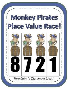 Fern Smith's Monkey Pirates Place Value Race Game! Common Core Standards For Place Value  1.NBT.2 ~ 1.NTB.3  2.NBT.1 ~ 2.NBT.3 and 2.NBT.4  3.NBT.2
