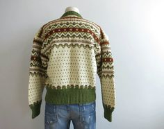 Vintage Nordic Wool Fair Isle Cardigan / Hand by zestvintage Hand Knitted Sweaters, Indian Summer, Wool Cardigan, Olive Green, Hand Knitting, Christmas Sweaters, 1960s, Vintage Outfits, Men Sweater