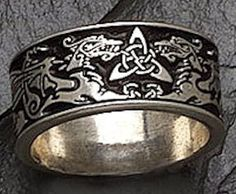 Celtic Dragon Ring in .925 Sterling Silver - Wide Handfasting or Wedding Band - Pagan Wiccan Jewelry