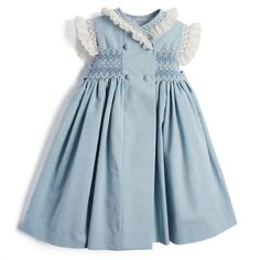 Traditonal Blue Linen Handsmocked Dress   Pepa & Co. – PEPA AND CO Spring Dresses, Blue Dresses, Girls Dresses, Little Girl Dresses, Flower Girl Dresses, Spanish Dress, Fabric Covered Button, Classic Outfits, Classic Clothes