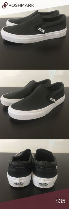 WOMENS VANS CLASSIC SLIP ON SNEAKERS 6 GOOD PREOWNED CONDITION   WORN TWICE   WOMENS VANS CLASSIC LEATHER SLIP ON SNEAKER  SIZE 6  COLOR BLACK Vans Shoes Sneakers