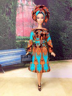 f842ad63f57 Barbie Doll Dress - Turquoise and Orange Ink Blot Print Dress with Head-wrap