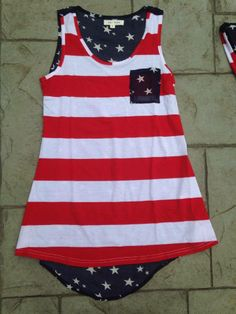 American Flag USA America Flag 4th of July Tank Top Tunic Summer Outfit Wardrobe www.facebook.com/thinkpinkboutique1