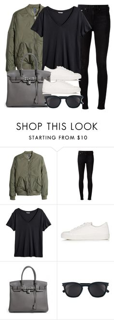 """""""Style #11323"""" by vany-alvarado ❤ liked on Polyvore featuring H&M, rag & bone, Topshop, Hermès and Yves Saint Laurent"""