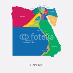Best Egypt Map Vector with colored regions #Illustration #map #maps #egypt