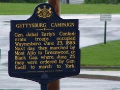 Gen. Jubal Early's Confederate troops occupied Waynesboro June 23, 1863. Next day they marched by Mont Alto to Greenwood, or Black Gap, where, June 25, they were ordered by Gen. Ewell to march to York.