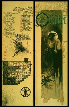 OCTOBER - Magic Calender of 1896 ; Colored Lithographs by Manuel Orazi. A rare piece of occultist ephemera, printed in an edition of 777 copies to commemorate magic for the coming year of 1896.