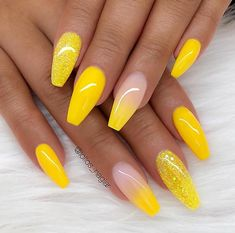 Trendy Yellow Nail Art Designs To Make You Stunning In Summer;Acrylic Or Gel Nails; French Or Coffin Nails; Matte Or Glitter Nails; French Tip Nail Designs, French Tip Nails, Acrylic Nail Designs, Nail Art Designs, Ombre Nail Designs, Glitter Nail Designs, Coffin Nails Designs Summer, Fancy Nails Designs, Gel Polish Designs