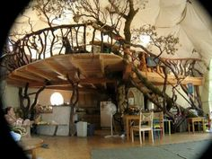 Designs incorporating trees into the interior of homes just amaze me. I wonder what the walls are made of.