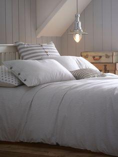 Single duvet cover, grey duvet covers, home bedroom, seaside bedroom, linen Seaside Bedroom, Home Bedroom, Master Bedroom, Bedroom Decor, Linen Bedroom, Bedroom Ideas, Striped Bedding, Ticking Stripe, Grey Duvet