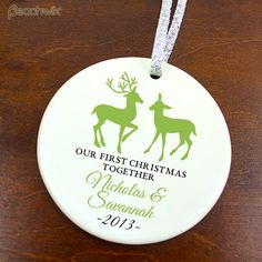 Our First Christmas Together Ornament - Deer - Personalized Porcelain Couples Holiday Ornament - Engagement Gift - orn126 - Custom Colors on Etsy, $17.95