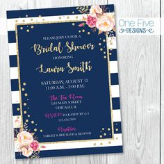 Items similar to Navy Gold Glitter Pink Blush Fuchsia Stripes Bridal Shower Invitation with Flowers - Printable on Etsy Navy Gold, Pink And Gold, Blush Pink, Gold Bridal Showers, Wedding Shower Invitations, Beauty And The Beast, Gold Glitter, Wedding Ceremony, Wedding Planning