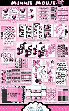 Minnie Mouse Party - Birthday Party Inspired by Minnie Mouse - HUGE Printable Set by Amanda's Parties TO GO. $29.00, via Etsy.