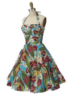 1950s Style Hawaiian Print Trixie Halter Dress from Blue Velvet Vintage - it's so fantastically fun and summer!
