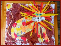 For when kids have to be brave...Collage Lion from Scrap paper