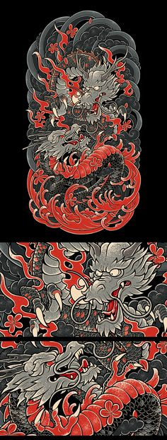 Dragon illustration inspired by Japanese tattoo art. Japanese Dragon Tattoos, Japanese Tattoo Art, Japanese Tattoo Designs, Japanese Sleeve Tattoos, Japanese Art, Traditional Tattoo Dragon, Traditional Japanese Dragon, Dragon Tattoo Back, Dragon Sleeve Tattoos