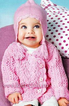 Розовая кофточка и шапочка для малыша