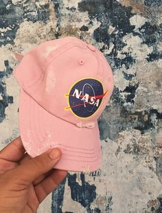 Image of Space Cadet Pink Distressed Cap