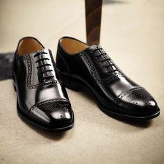 Black semi-brogue shoes | Men's business shoes from Charles Tyrwhitt | CTShirts.com