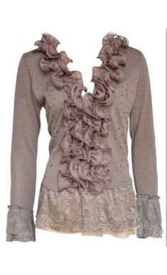 Modest Clothing - Womens Ruffled Tops with Lace Cuffs and Hem